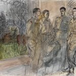 The 50th (Northumbrian) Division, 1944: B Mess (Junior Officers) at Divisional Headquarters : Lieutenant H N Meek, Liaison Officer ; Captain E W Clay, GSO 3I ; Major D Penwill, DSO, GSO, 2I ; Captain J Robinson, Royal Corps of Signals (Art.IWM ART LD 3951) image: image: a full length portrait of four British officers standing in group, next to a large picture window with a view of a garden and a woodland in the distance. Copyright: © IWM. Original Source: http://www.iwm.org.uk/collections/item/object/11626