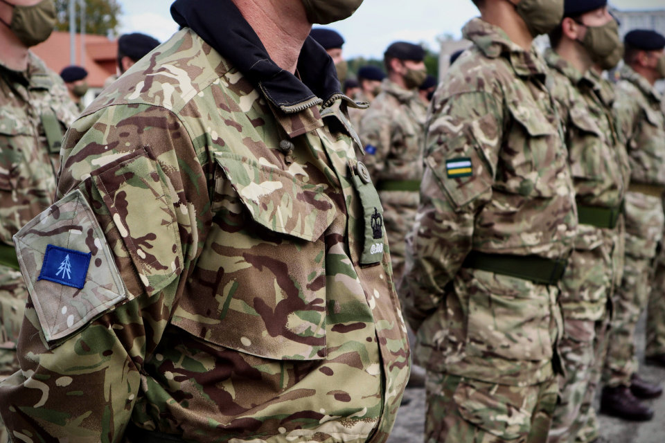 Regulars and Reservists on parade on Op CABRIT, Poland 2019