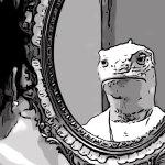 a lizard in the mirror