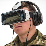 Virtual reality headset on a soldier